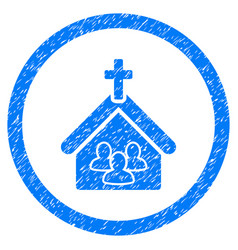 Church rounded grainy icon vector