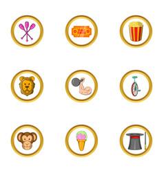 Circus program icon set cartoon style vector