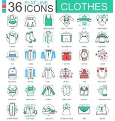 Clothes shoes flat line outline icons for vector