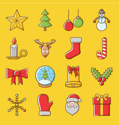 Cute christmas icon set vector