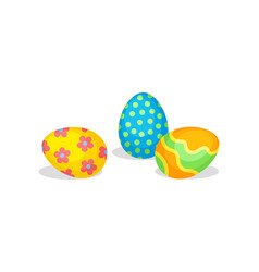 cute eggs with ornaments traditional treats for vector image