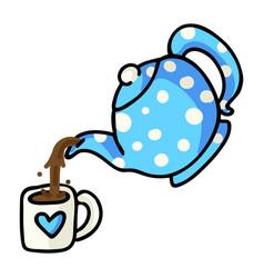 Cute tea pouring cartoon hand vector