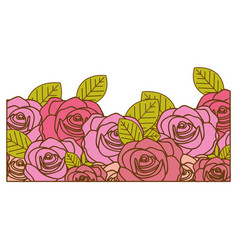 Decorative half border with realistic roses design vector