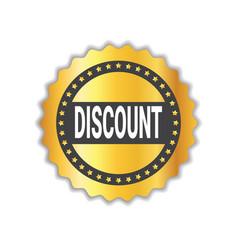 discount sticker golden seal shopping sale icon vector image