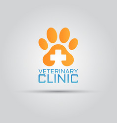 dog paw veterinary clinic isolated logo vector image