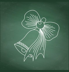 drawing school bell with a bow on green chalkboard vector image