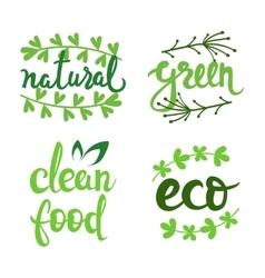 eco natural bio logo set Green icons vector image vector image