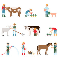 Farmers harvest and care for livestock farmers vector