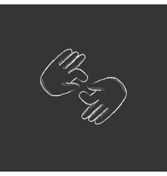Finger language Drawn in chalk icon vector