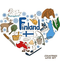 Finland symbols in heart shape concept vector