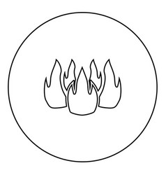 fire icon black color in circle vector image