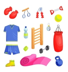 Fitness icons set cartoon style vector image vector image