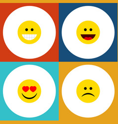 Flat icon expression set of grin love laugh and vector