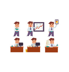 flat set office worker in different vector image