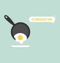 For breakfast with fried egg and pan vector