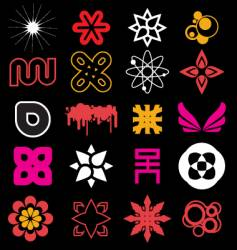 funky icon shapes vector image