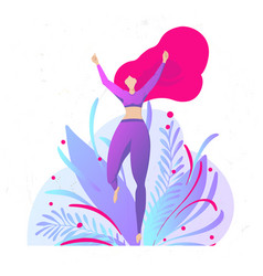 girl with beautiful red hair in sportswear is vector image