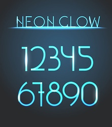 Glowing neon elements Lighting digits set vector image