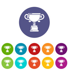 goblet icons set color vector image