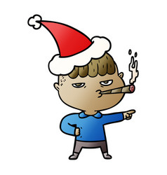 gradient cartoon of a man smoking wearing santa vector image