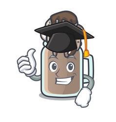 Graduation milkshake character cartoon style vector