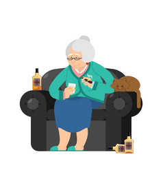 grandmother drinks alcohol and smoke cigar old vector image