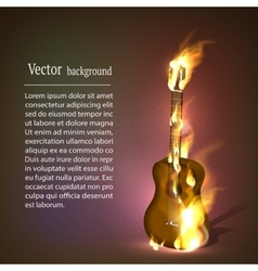 Guitar in fire music vector