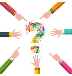 Hands with question mark mystery design business vector