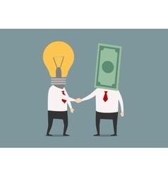 handshake businessmen with idea and money vector image