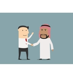 Handshake of european and arab businessmen vector