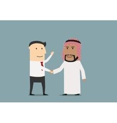 Handshake of european and arab businessmen vector image