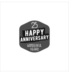 Happy 25th anniversary badge sign and emblem vector