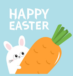happy easter white bunny rabbit holding big vector image