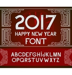 Happy New Year 2017 hand-lettering text on red vector image