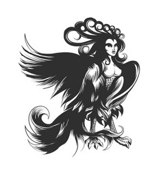 harpy hand drawn vector image