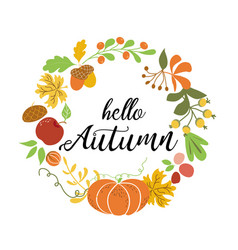 hello autumn wreath fall elements orange pumpkin vector image