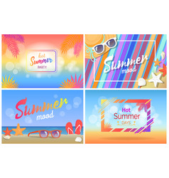 Hot summer party bright promotional posters set vector