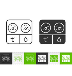 Hygrometer simple black line icon vector