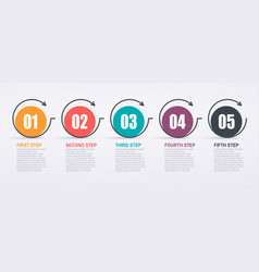 Infographic design template with 5 step structure vector