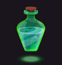 isolated bright green magic bottle icon vector image