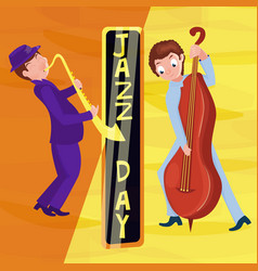 jazz music festival poster with cartoon vector image