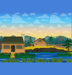 Landscape of house on river vector