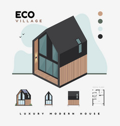 luxury modern houses eco village isometric vector image