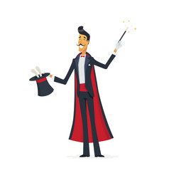 magician doing a hat trick - cartoon people vector image
