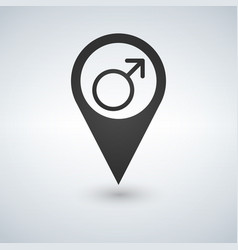 male symbol on map pin location pointer isolated vector image