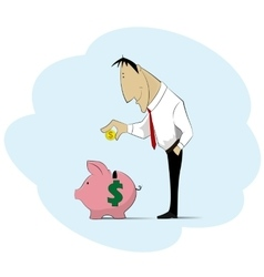 Man collecting money into piggy bank vector image