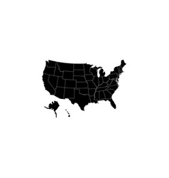 map usa with federal states black on white vector image