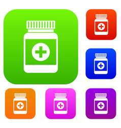 medicine bottle set collection vector image