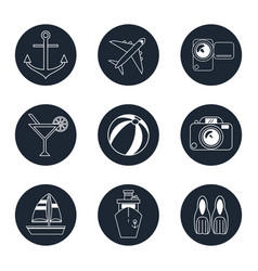Monochrome icons travel set in round frames vector