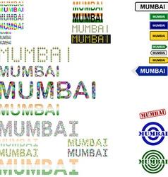Mumbai text design set vector image
